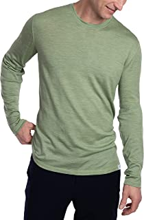 Woolly Clothing Men's Merino Wool Long Sleeve Crew Neck Shirt - Ultralight - Wicking Breathable Anti-Odor