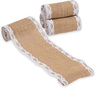 Burlap Fabric Roll - 4-Pack 4.65-Inch Brown Burlap Ribbon with White Laces for Crafts, 2 Yards Each