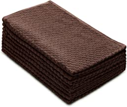 COTTON CRAFT - 8 Pack - Euro Cafe Waffle Weave Terry Kitchen Towels - 16x28 Inches - Chocolate - 420 GSM Quality - Ringspu...