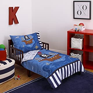 "Little Tikes 4 Piece Pirates Toddler Bedding Set, Blue/Red/Black, 52""x28"""