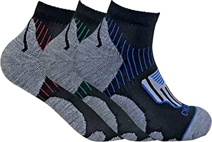 3 Pairs Mens Breathable Cushioned Heel Anti Blister Sports Cycling Short Ankle Quarter Socks for Achilles Protection