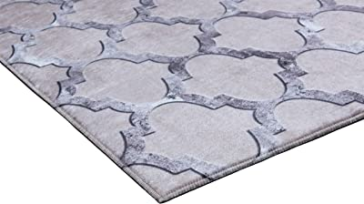 (0.9mx1.5m, Grey - Brown) - Mylife Rugs Babylon Collection Morroccan Trellis Design Non Slip Area Rugs for Living Room, Bedroom, Kitchen, and Hallway (0.9mx1.5m, Grey - Brown)