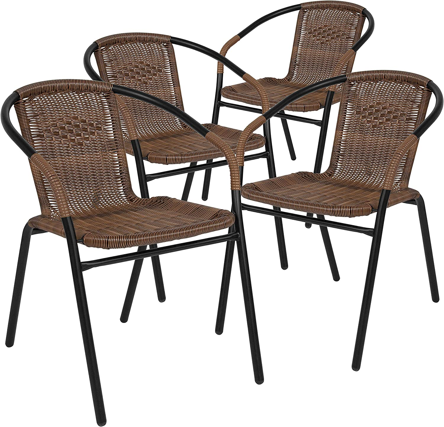 EMMA + OLIVER Patio Wicker Rattan Chair Pat 4 of Round A surprise price is realized Set Easy-to-use Back