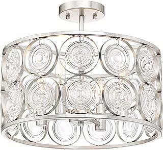 Minka Lavery Crystal Semi Flush Mount Ceiling Light 3669-598 Culture Chic Lighting Fixture, 4-Light 240 Watts, Catalina Silver