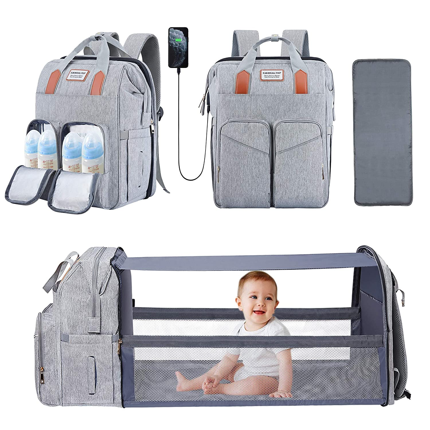 Diaper Bag Backpack with Changing Station Portable Baby Diaper Bags Travel Waterproof Baby Boy Diaper Bag with Insulated Pockets, USB Charging Port, Stroller Straps, Grey
