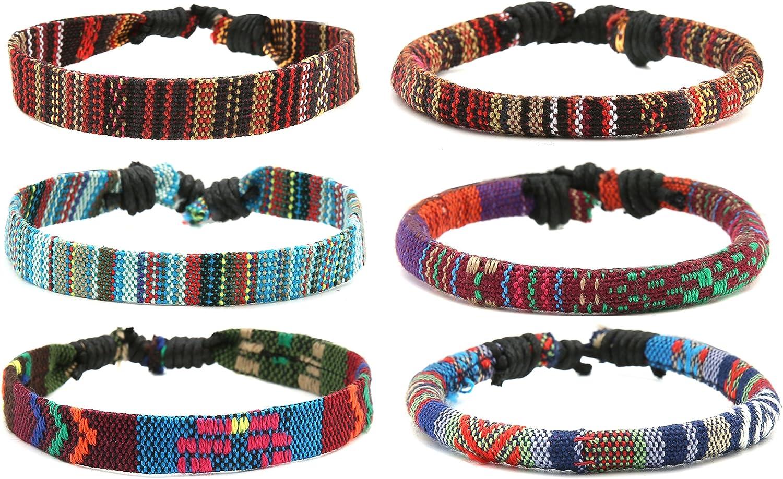 HZMAN Mix 6 Wrap Bracelets Men Women, Hemp Cords Ethnic Tribal B