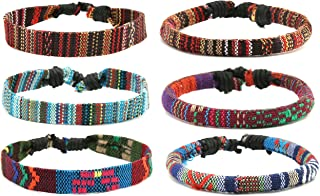 Mix 6 Wrap Bracelets Men Women, Hemp Cords Ethnic Tribal Bracelets Wristbands