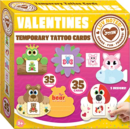 JOYIN 35 Packs Valentines Day Gifts Cards for Kids with Animal Themed Temporary Tattoos Valentine Classroom Exchange Cards Valentine Party Favor Toy