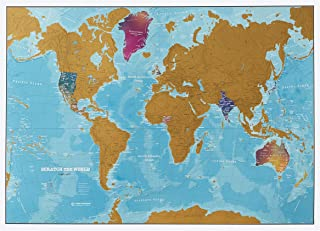 Maps International Scratch The World Watercolor Map – Scratch Off World Map Poster – Most Detailed Cartography - 33 x 23