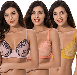 a09140eacb Curve Muse 3 Pack Plus Size Unlined Semi-Sheer Balconette Underwire Lace Bra