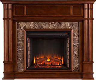 Media Electric Fireplace - Faux Granite Finish - Remote Control Mantel Space Heater