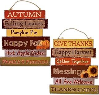 Greenbrier International Wooden Harvest Welcome Signs MDF-Give Thanks and Autumn-Set of 2