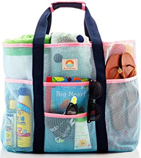 Mesh Beach Bag - Large Family Tote for Women - Extra Storage with 9 Pockets, Comfortable Shoulder Strap for Beach, Pool