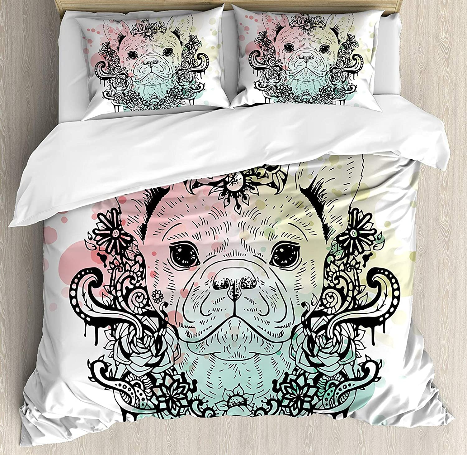 Animal 4 Pcs Bedding Set Twin Size, French Bulldog with Floral Wreath on Brushstroke Watercolor Print All Season Duvet Cover Bed Set, Mint Pale Pink Pale Green