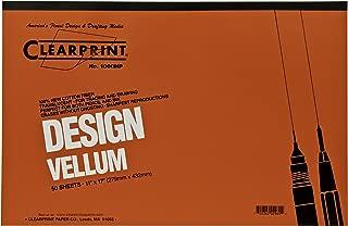 Clearprint 1000H Design Vellum Pad, 16 lb., 100% Cotton, 11 x 17 Inches, 50 Sheets, Translucent White, 1 Each (10001416)