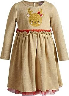 Youngland Girls Long Sleeve Glitter Knit Mesh Applique Dress Long Sleeves Dress