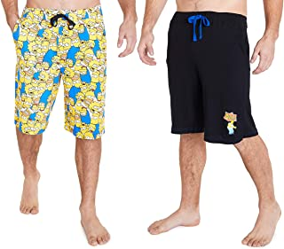 The Simpsons Shorts for Men, Pack of 2 Homer Simpson Bermuda Shorts with Pockets Size S, M, L, XL, 2XL, 3XL, Cosy Summer C...