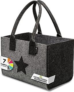 Tebewo Shopper Filztasche Premium, große Einkaufs-Tasche mit Henkel, Einkaufskorb, Faltbare Kaminholztasche zur Aufbewahru...