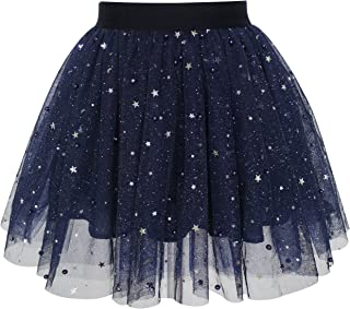 Sunny Fashion Girls Skirt Navy Blue Pearl Stars Sparkling Tutu Dancing Size 4-12