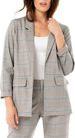 White/Tan/Blue Houndstooth Plaid
