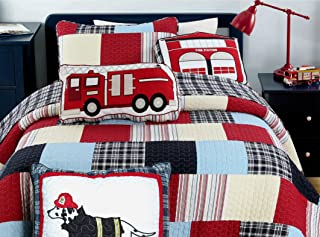 Cozy Line Home Fashions 5-Piece Quilt Bedding Set, Blue Red Cars Truck Fire Station Dog 100% Cotton Bedspread Coverlet Set (Twin- 5 Piece: 1 Quilt + 1 Standard Sham + 3 Decorative Pillows)