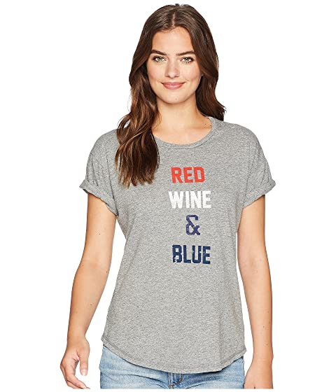 Red Wine and Blue Rolled Short Sleeve Mocktwist Tee