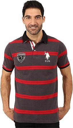 Black Mallet Striped Pique Polo