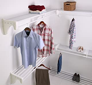 EZ Shelf EZS-K-SCRW72-5-4 Walk-in Closet Kit Hanging and Shelf Space, White