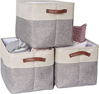 VK Living Large Foldable Storage Bin   Collapsible Sturdy Cationic Fabric Storage Basket Cube W/Handles for Organizing She...