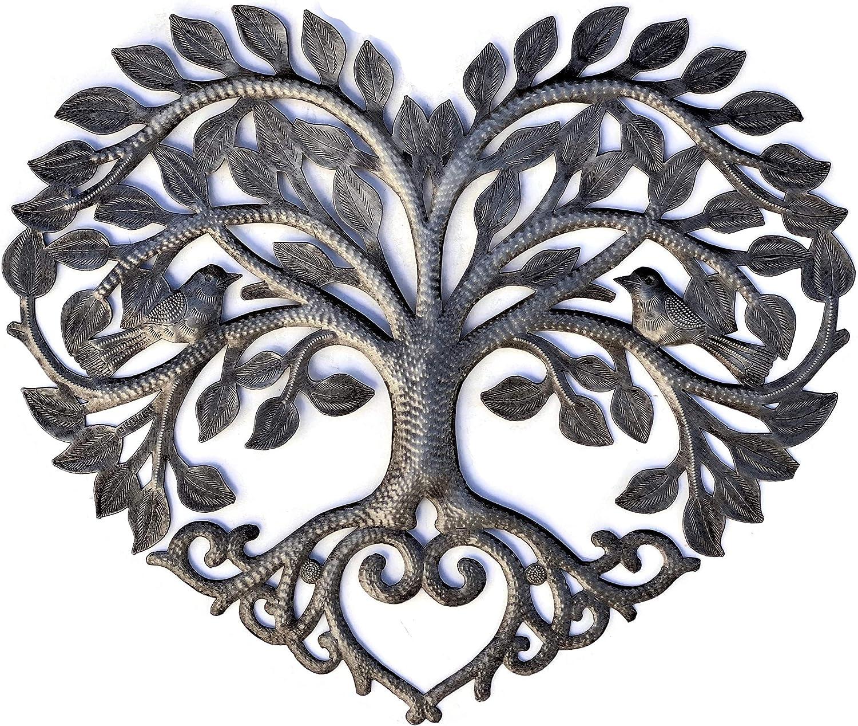 Heart Shaped Tree of Life Metal Wall Hanging Artwork, Handmade i