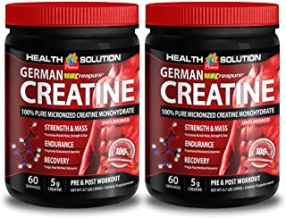 Creatine monohydrate 5g - CREAPURE MONOHYDRATE German CREATINE 300 Grams 60 Servings - Boost Athletic Performance (2 Bottles)