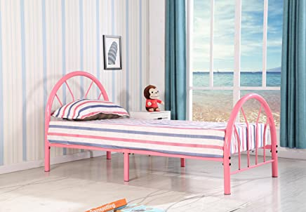 Roundhill Furniture Belledica Metal Bed Set with Headboard,  Pink,  Twin