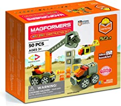 Magformers Amazing Construction 50Piece, Wheels, Orange Colors, Educational Magnetic Geometric Shapes Tiles Building STEM ...