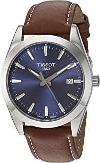Tissot mens Gentleman Stainless Steel Dress Watch Brown T1274101604100