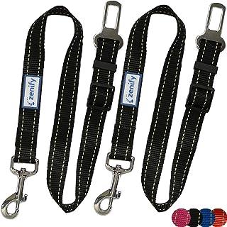 Zenify Dog Car Seat Belt Seatbelt Lead Puppy Harness - Heavy Duty Adjustable Carseat Clip Buckle Leash for Dogs Puppies Pe...