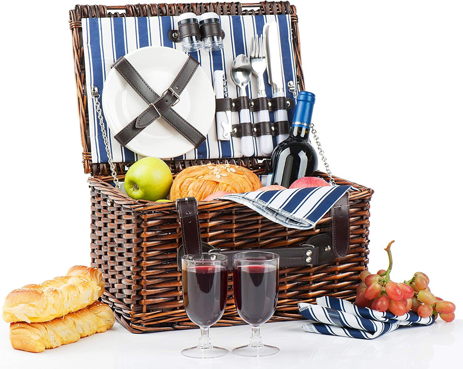 Picnic Basket for 2 | Handmade Picnic Hamper Set | Ceramic Plates Complete Kit Includes Metal Flatware Wine Glasses S/P Shakers and Bottle Opener | Blue Stripe Pattern Lining | Picnic Tote Wine Gifts