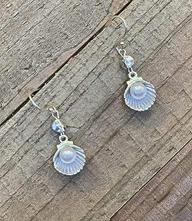 Oyster Shell Pearl Sterling Silver Simple Dangle Earrings Jewelry