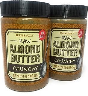 2 Packs Trader Joe's Almond Butter Raw Crunchy Unsalted 16 Oz