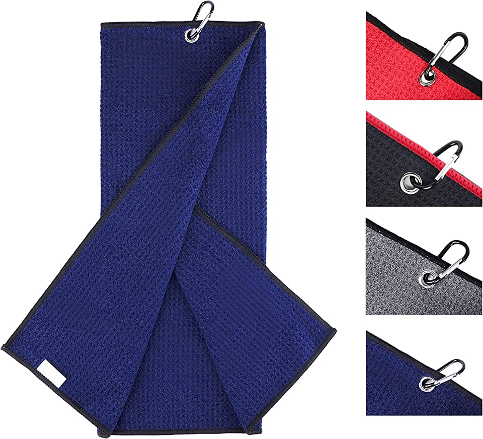 """Champkey 16"""" x 21"""" Premium Tri-Fold Waffle Golf Towels   Superior Water Absorption and Quick Dry Golf Cleaning Towel (Blue)"""