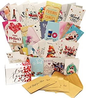 Premium Greeting Cards Assortment For All Occasion - 40 UNIQUE DESIGNS Box Set Cards Blank Inside With Envelopes - Birthday, Thank you, Congratulation, Anniversary, Wedding, Mother's Day