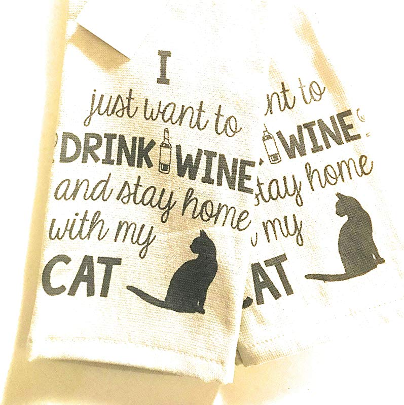 Casaba I Just Want To Drink Wine And Stay Home With My CAT Kitchen Hand Towel Set Of 2 100 Ultra Absorbant Cotton
