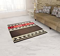 U.P HANDLOOM TEXTILE Wool Rug - 14.04 inches x 7.8 inches, Brown and Red
