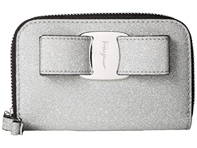 Salvatore Ferragamo Glitter Zip Around Coin Purse (Argento/Micro Banca) Handbags