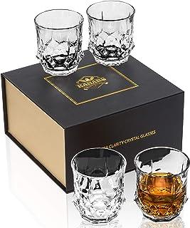 KANARS 4-teiliges Whisky Gläser Set, Bleifrei Kristall Whiskygläser, Spülmaschinentauglicher Whiskybecher, Hochwertige Qualität, 300 ml, Luxuriös Geschenk