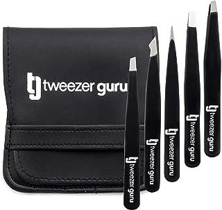 Tweezers Set 5-piece - Tweezer Guru Stainless Steel Slant Tip and Pointed Eyebrow Tweezer Set - Great Precision for Facial Hair, Ingrown Hair, Splinter and Blackhead Remover (Black) (5-Pack)