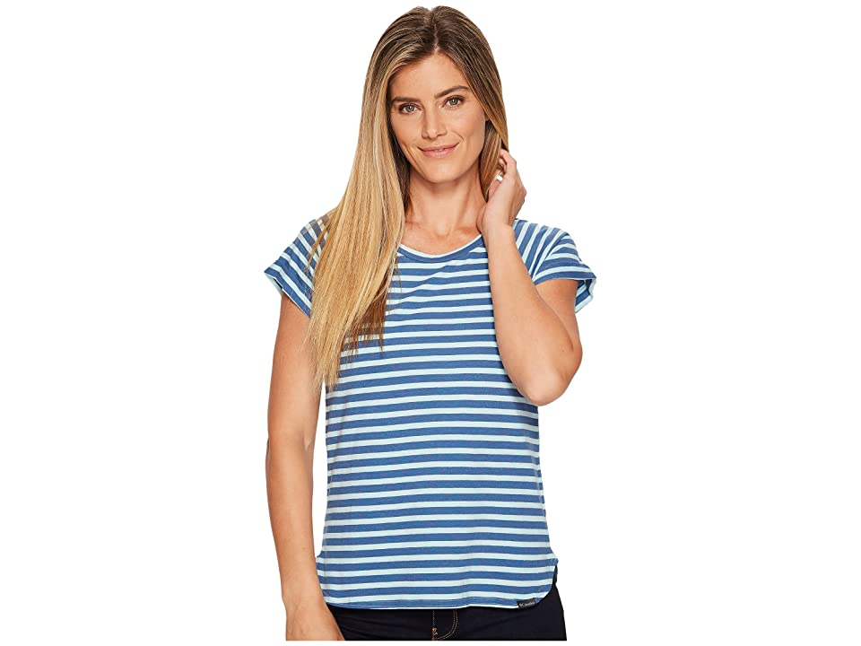 Columbia Trail Shaker Stripe Short Sleeve Shirt (Wind Heather/Jewel Stripe) Women