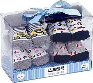 BRUBAKER, BRUBAKER 4 Pares de Calcetines Bebé Niños 0-12 Meses - Coches y Estrellas - en Caja Regalo