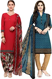 Rajnandini Women's Red and Teal Blue Crepe Printed Unstitched Salwar Suit Material (Combo Of 2) (Free Size)