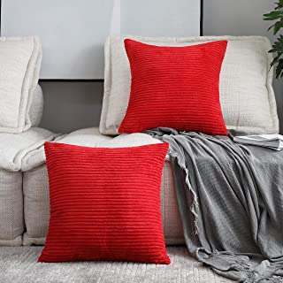 Home Brilliant 2 Pack Striped Plush Velvet Corduroy Christmas Decoration Euro Throw Pillow Sham Cushion Cover for Couch Sofa Floor 24 x 24 inch (60cm), Red