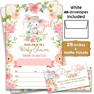 Elephant Boho Floral - Baby Shower Pink Elephant Invitations Girl with Envelopes and Diaper Raffle Tickets. Set of 25 Fill in The Blank Style Invites with Envelopes - Baby Shower Invitations Girl
